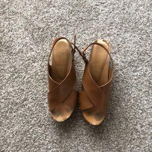 Tan clog shoes